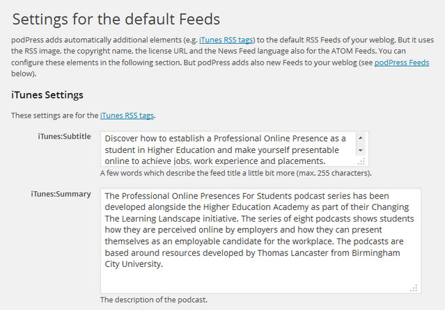 Some information about the podcast series set up for the iTunes feed in podPress