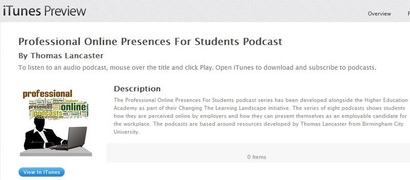 iTunes previous page for Professional Online Presences podcasts