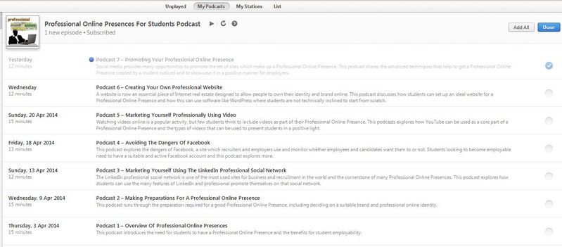 List of podcasts in iTunes shown for subscribers